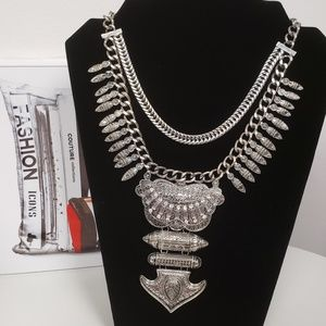 Silver Rustic Tribal Necklace
